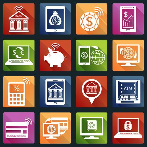 Icônes de banque mobile blanches vecteur