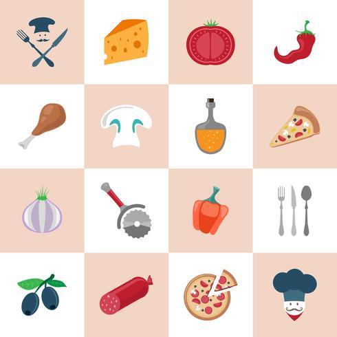 Pizzeria jeu d'icônes vecteur
