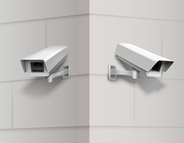 Caméras de surveillance sur le mur vecteur