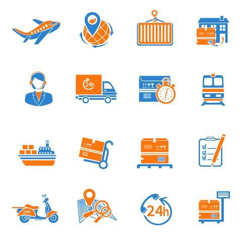 Icônes logistiques définies en orange vecteur