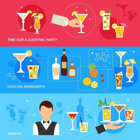 Jeu de bannière alcool cocktails vecteur