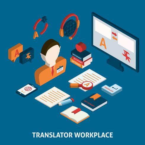 Impression d'affiche isométrique de traduction et de dictionnaire vecteur