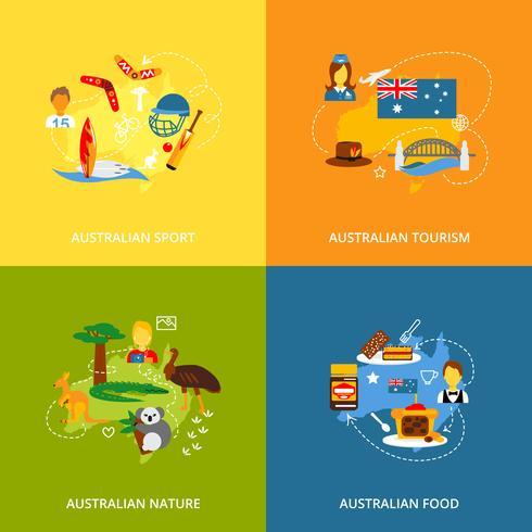 Australie icônes mis à plat vecteur