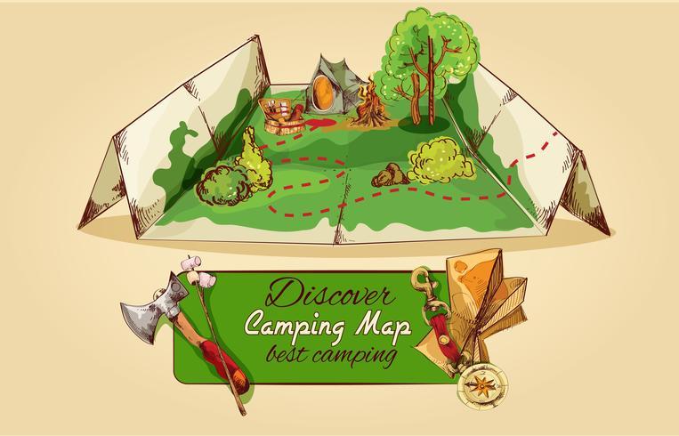 Croquis de carte de camping vecteur
