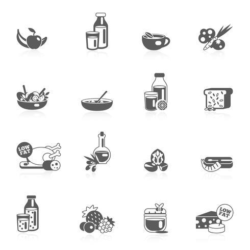 Alimentation saine icônes noires vecteur