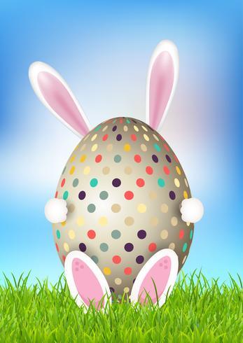 Joli fond de Pâques avec lapin tenant un oeuf vecteur