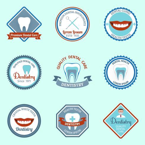 Ensemble d'emblèmes dentaires vecteur