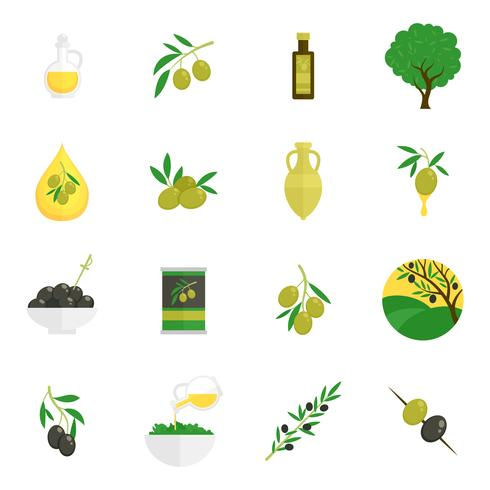 Olives icônes plats vecteur