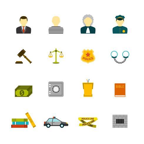 jeu d'icônes de crime et de punitions vecteur