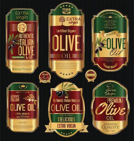 Collection d'étiquettes rétro huile d'olive vecteur