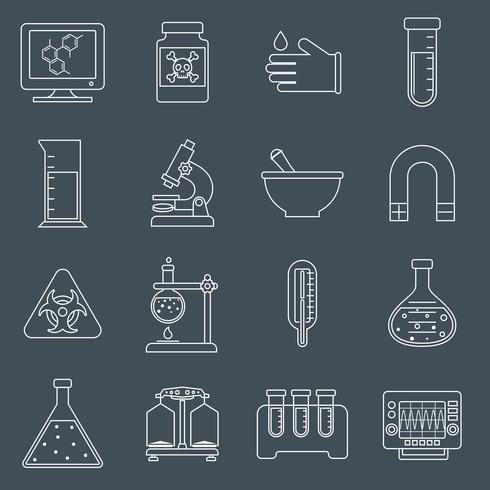 Contour d'icônes d'équipement de laboratoire vecteur