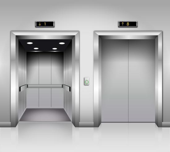 Portes d'ascenseurs d'immeuble de bureaux en métal chromé réalistes, ouvertes et fermées. vecteur