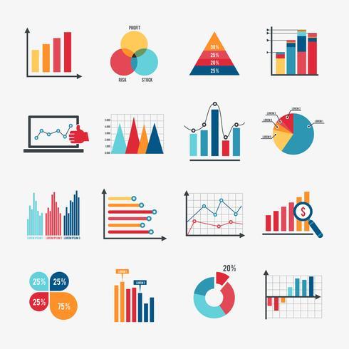 icônes de graphique d'affaires mis à plat vecteur