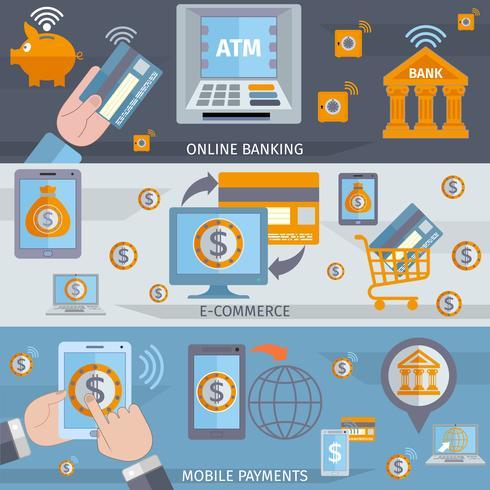 Bannières de lignes bancaires mobiles vecteur