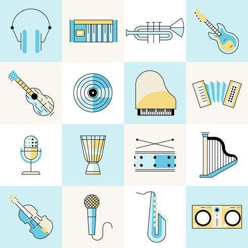 Set de ligne plate d'instruments de musique vecteur