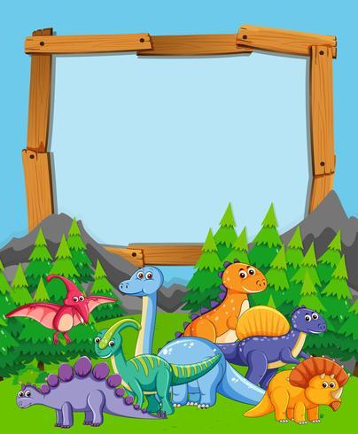 Beaucoup de dinosaures sur cadre en bois nature vecteur