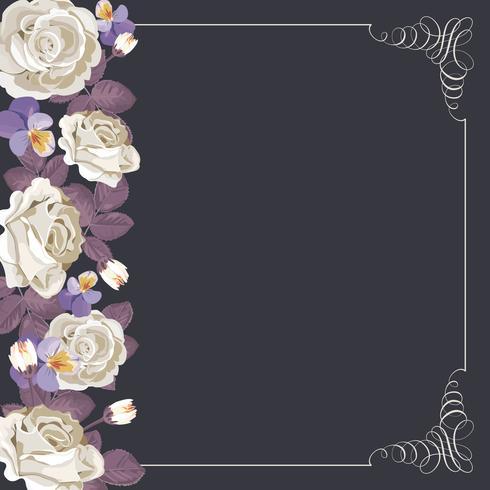 Modèle de carte de flore avec roses blanches et cadre calligraphique carré. vecteur