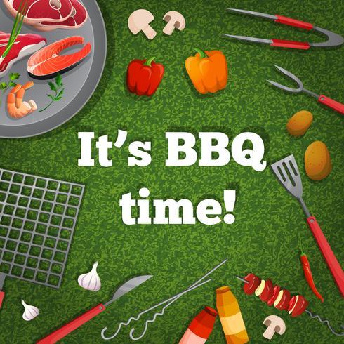 Affiche pique-nique barbecue vecteur