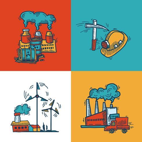 Conception de bannière de croquis industriels vecteur