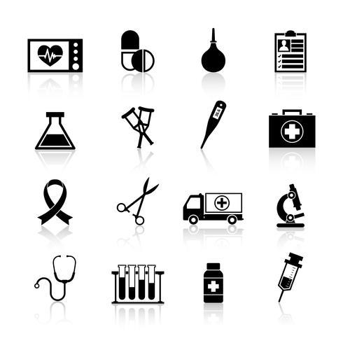 Équipement médical icône noir vecteur