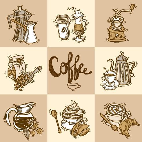Ensemble décoratif café vecteur