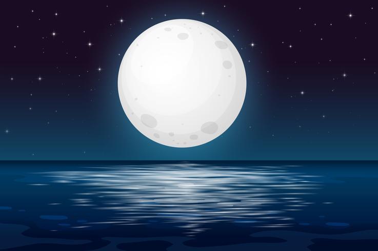 Une nuit de pleine lune à l'océan vecteur