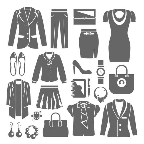 Ensemble de vêtements de femme d'affaires vecteur
