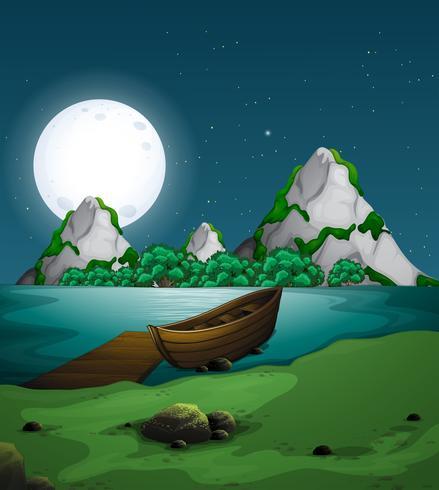 Paysage naturel de nuit vecteur
