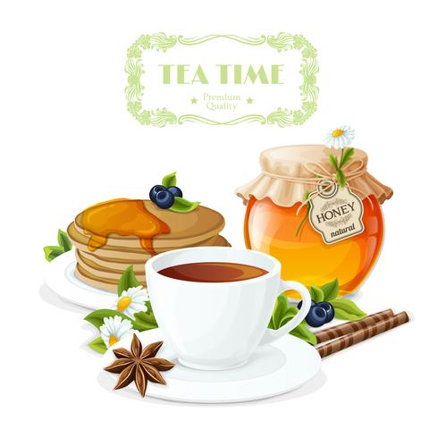 Affiche l'heure du thé vecteur
