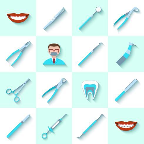 Ensemble d'icônes instruments dentaires vecteur
