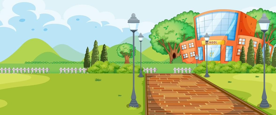 Bâtiment scolaire en pleine nature vecteur