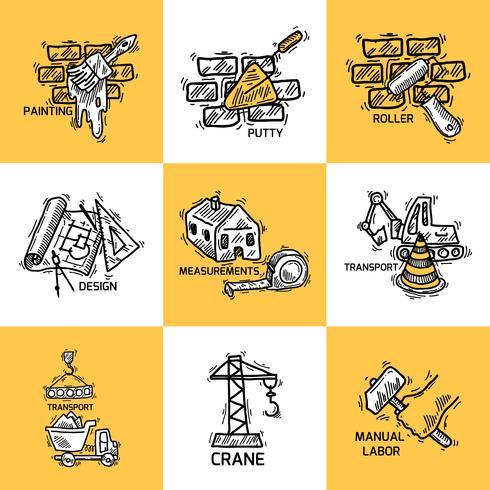 Jeu d'icônes de construction vecteur