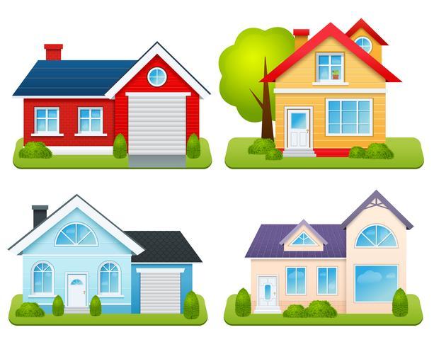 Ensemble de maisons privées vecteur