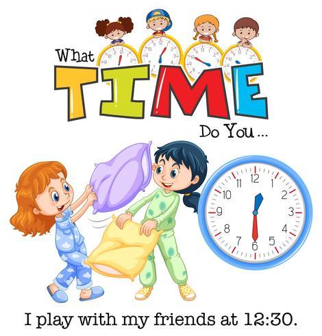 Horloge et heure des enfants vecteur
