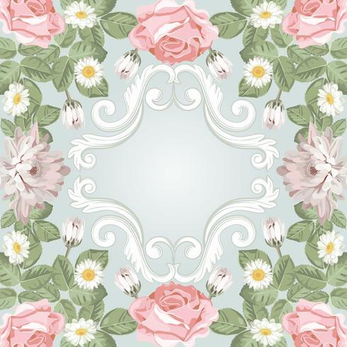 Beau cadre floral. Modèle pour votre texte ou photo vecteur