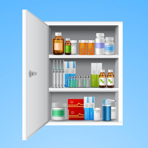 Armoire à pharmacie réaliste vecteur