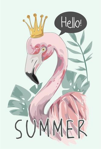 slogan de l'été avec illustration de flamant rose vecteur