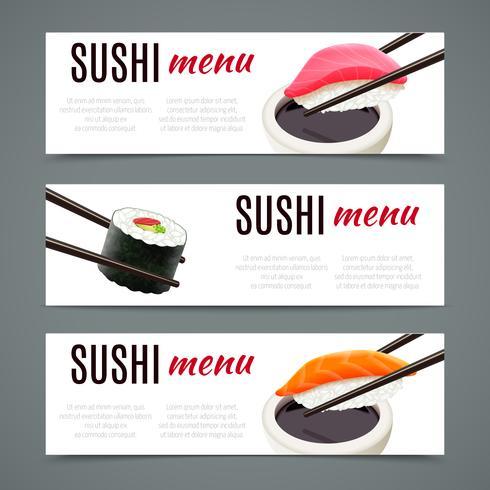 Sushi bannières horizontales vecteur