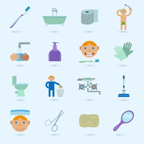 Ensemble d'icônes d'hygiène vecteur