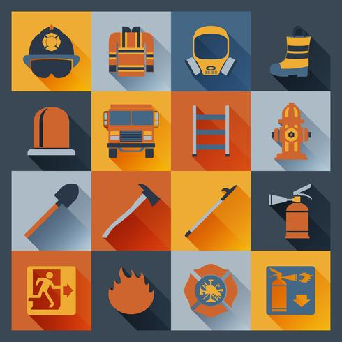 Icônes de pompier à plat vecteur