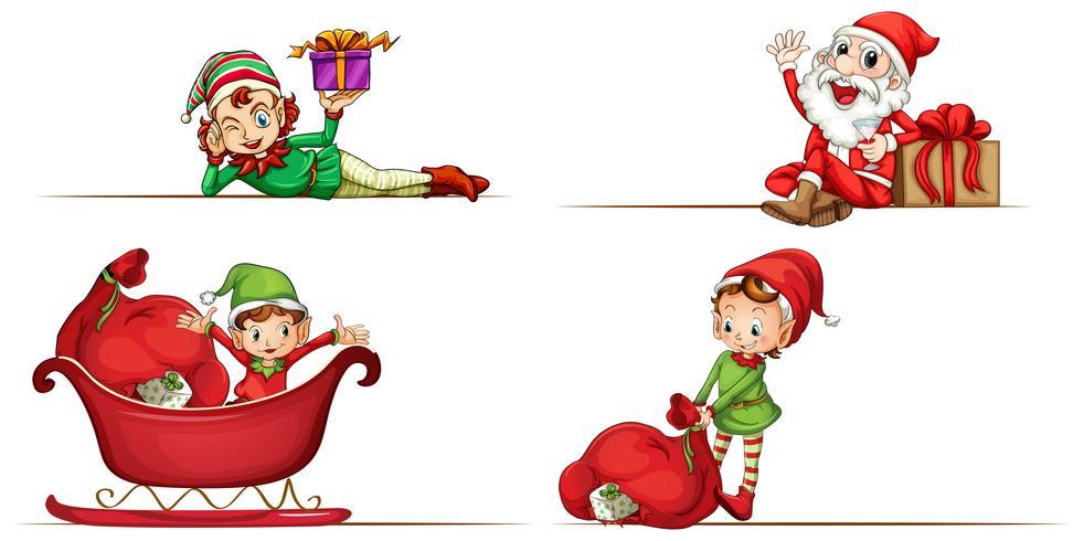 Elfe de Noël et Santa sur fond blanc vecteur