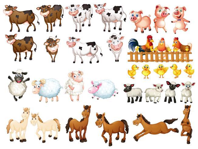Beaucoup d'animaux de la ferme vecteur