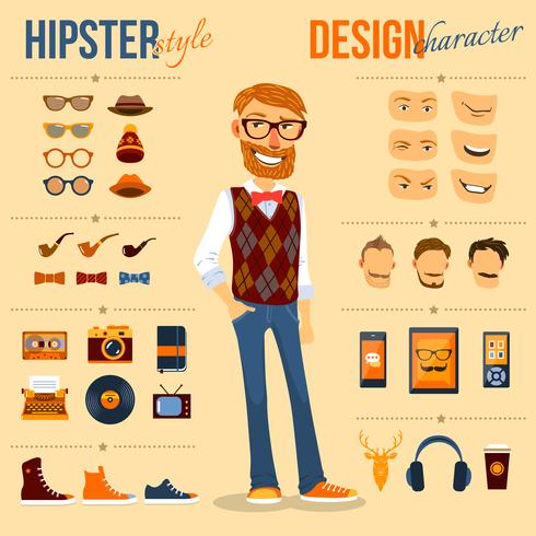 pack personnage hipster vecteur
