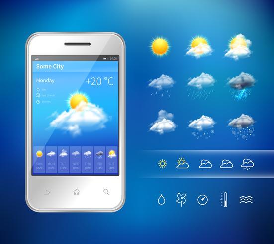 Application météo mobile vecteur