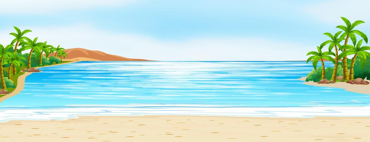 Scène avec l'océan bleu et le sable blanc vecteur