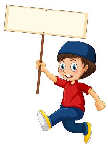 Un garçon musulman tenant la bannière vecteur