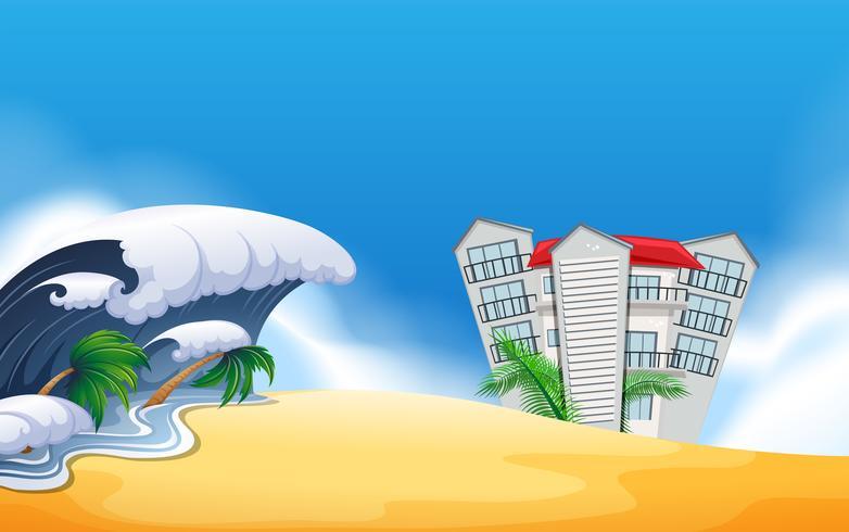 Une scène de plage reort vecteur