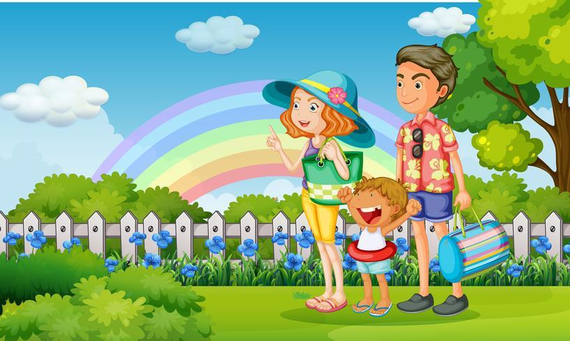 Famille dans le parc le jour de l'arc-en-ciel vecteur