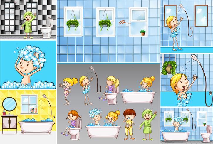 Scènes de salle de bain avec des enfants faisant différentes activités vecteur