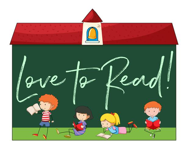 Enfants lisant avec une phrase adorant lire vecteur